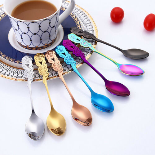 Set Of 6 Teaspoons 13cm Stainless Steel Coffee Tea Silver Drinks Solid Cutlery
