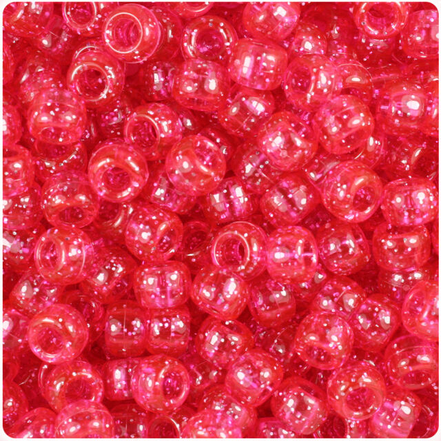 500 Bright Pink Sparkle 9x6mm Barrel Pony Beads USA Made by The Beadery