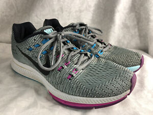 Nike Air Zoom Structure 19 Womens 806584-005 Grey Fuchsia Running Shoes Size 10