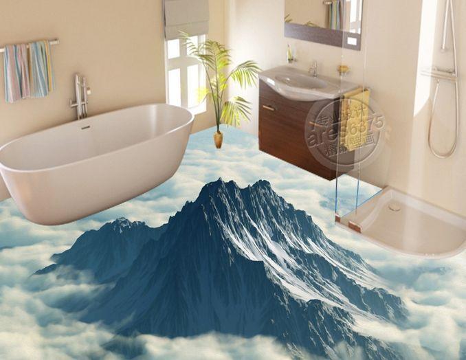 3D montagne scenario Pavimento Foto Wallpaper Murales Muro Stampa Decalcomania