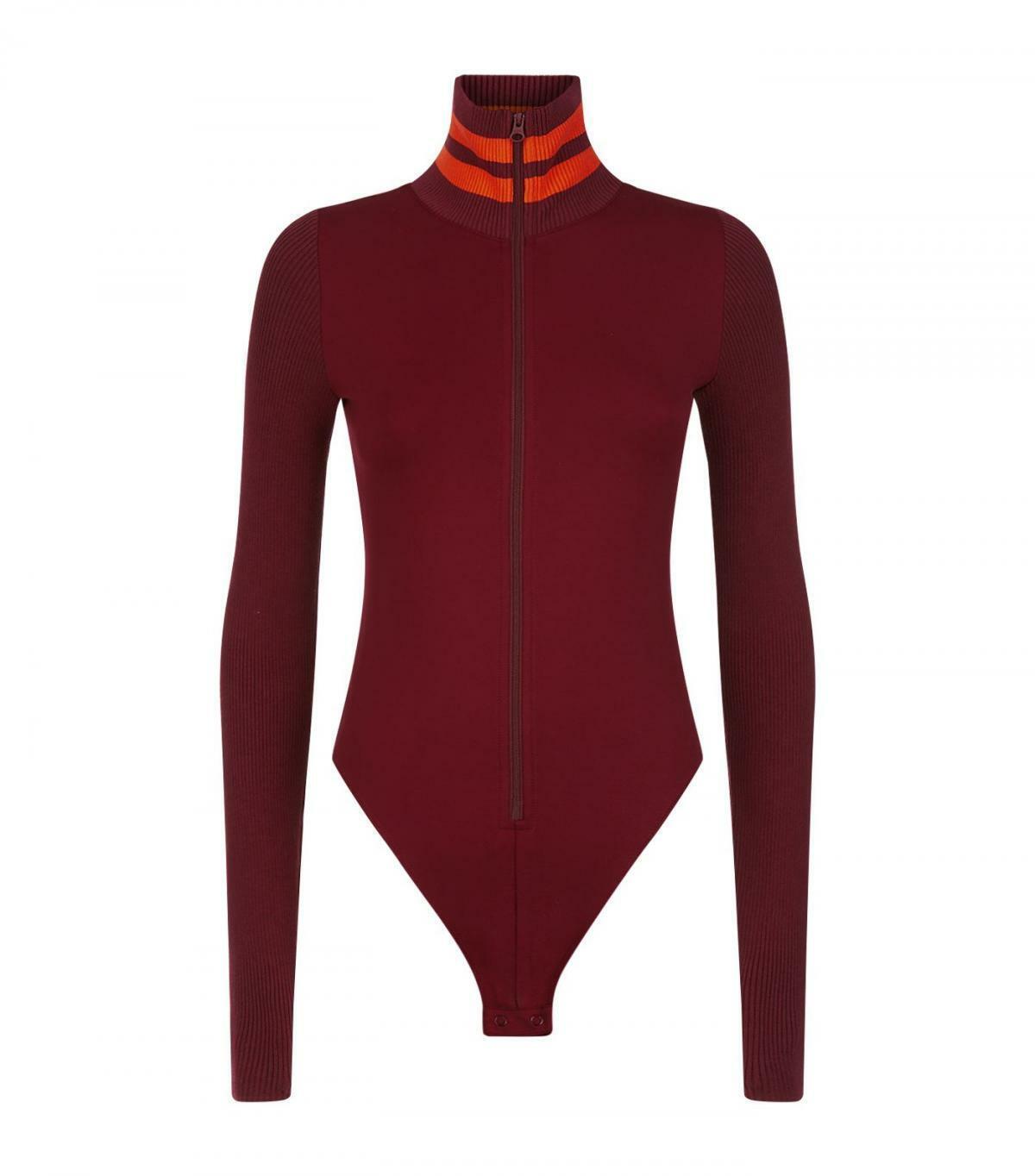 Puma x Fenty by Rihanna Womens Longsleeve Burgundy Bodysuit Full Zip US XS S M