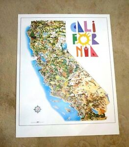 California Map Cartoon.Vintage Cartoon Map Of California Superb Lovely By Louchart Ebay