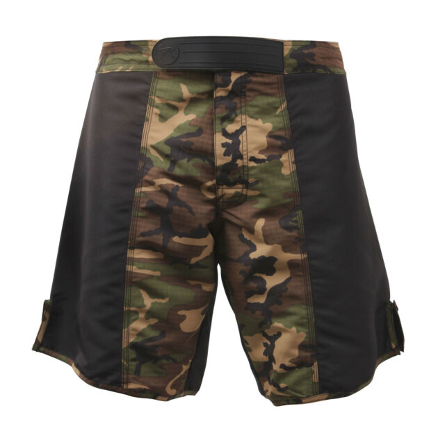 shorts camo fighting boxing woodland camouflage black sides rip stop rothco 2405