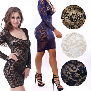 Lace Fusions Dress 4 Colors Floral Long Sleeved Lace Mini Dress w ... f32ef9146