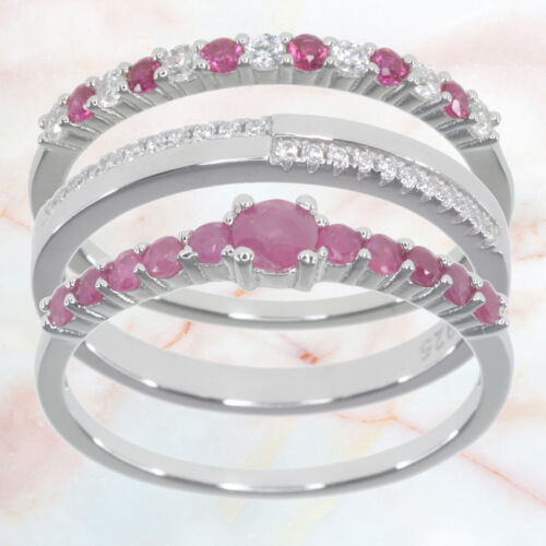 Ruby and Red Corundum Gemstone Stacked Set Of 3 Sterling Silver Ring