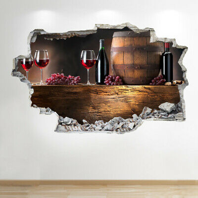 Sticker 3d Parete.Wine Wall Sticker 3d Look Bedroom Lounge Kitchen Wall Decal Z863 Ebay