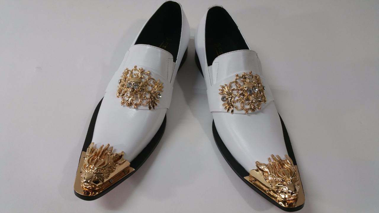 Fiesso Men's White Leather Silver Metal Toe Skull Slip on Dress shoes FI 6907