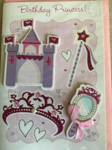 "/""BIRTHDAY PRINCESS/"" DAUGHTER//GRANDDAUGHTER//FEMALE BIRTHDAY CARD DECOUPAGE"