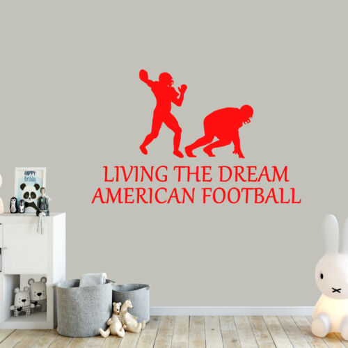 American Football Living The Dream Sports Wall Sticker Vinyl Decal Art Wall