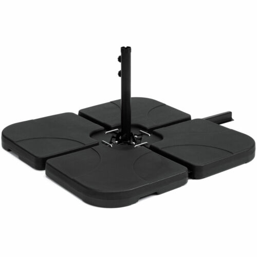 4 Pc Offset Cantilever Patio Umbrella Stand Base Square Plastic Plate Sand Water