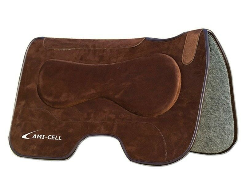 Lami-Cell Barrel Saddle Pad Western Riding 27  x 32  Suede - Brown