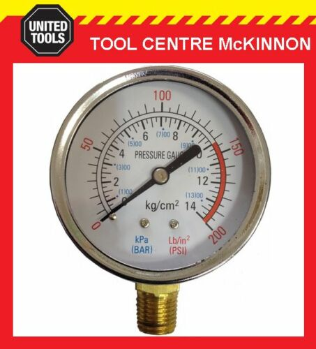 """QUALITY AIR COMPRESSOR 200psi PRESSURE GAUGE WITH ¼"""" BSP THREAD – BOTTOM MOUNT"""
