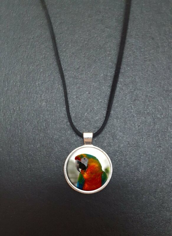 "Parrot Pendant On A 18"" Black Cord Necklace Ideal Birthday Gift N59"