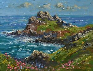 Richard-Blowey-Original-Oil-Painting-Coastal-Scene-Cornwall-Cornish-Art
