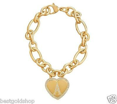 QVC Steel by Design Pave Heart Initial Rolo Charm Bracelet 14K Yellow Gold Clad