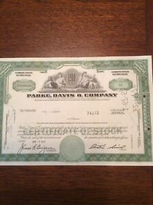 Parke-Davis-amp-Company-Dated-1969-10-Shares-Invalid-SHARE-CERTIFICATE
