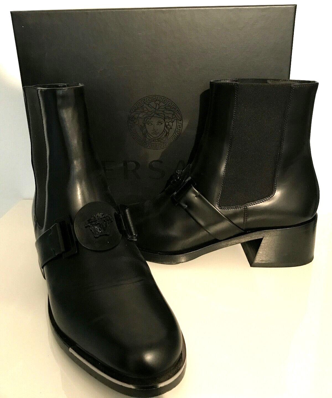 GIANNI VERSACE cuir femmes bottines 40 noir    NOUVEAU   Original  Bottines bottes fd5199