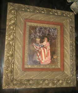Decorative Arts Picture Frames Ingenious Antique Banner Of Liberty American Flag Military Ornate Carved Guilt Wood Frame