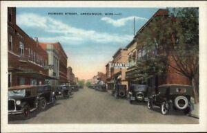 Greenwood-MS-Howard-St-c1920-Postcard-Old-Cars