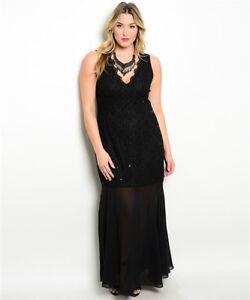 Womens Plus Size Black Lace Sleeveless Gown Maxi Dress 1XL NWT   eBay