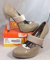 Gabriella Rocha Heels Size 8 Solid Patent Beige Slip On Shiny Strap Shoes
