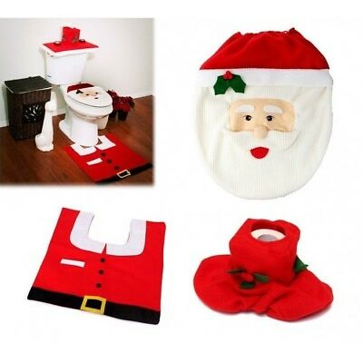Completo da bagno natalizio con copriwater di babbo Natale tappetino e portaroto