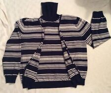 womens Evan Picone Black White Striped Cardigan Turtleneck Sweater Twin Set  XL