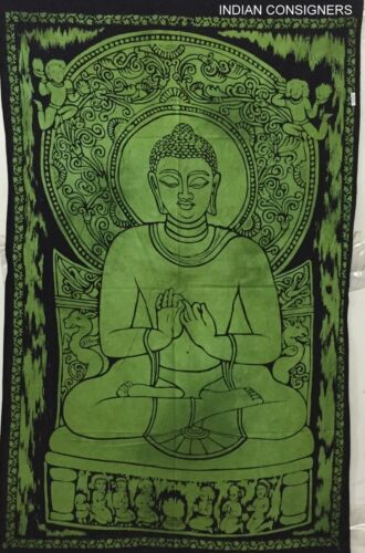 Indian Cotton Green Wall Hanging Posters Throw Tapestry Small Home Decor Hippie