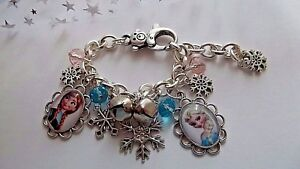 FROZEN  ELSA AND ANNA CHARM BRACELET,SIZE ADJUSTABLE 4 TO 7 YEAR GIFT BOX PARTY