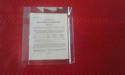 Vtg Data General Prospectus Lucite Paperweight