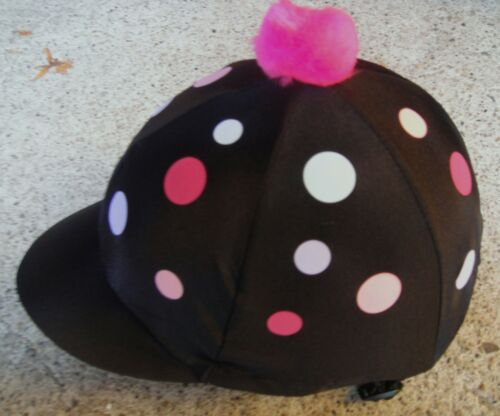 PINK LILAC BLUE POLKA  With OR w//o Pom Riding Hat Silk Skull Cap Cover BLACK