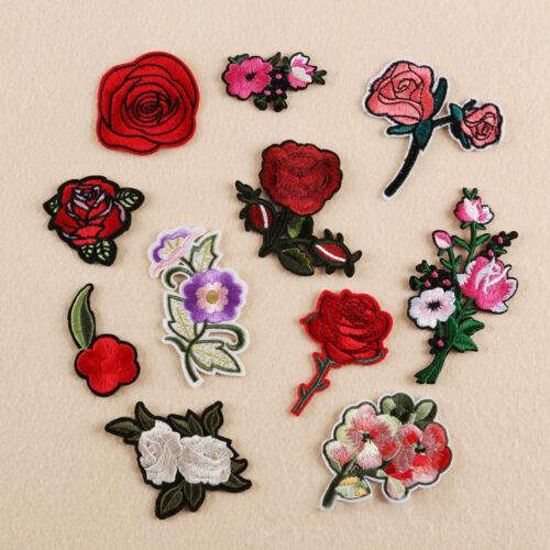 11pcs DIY Embroidered Sew Iron on Patch Badge Rose Flower Bag Hat Dress Applique