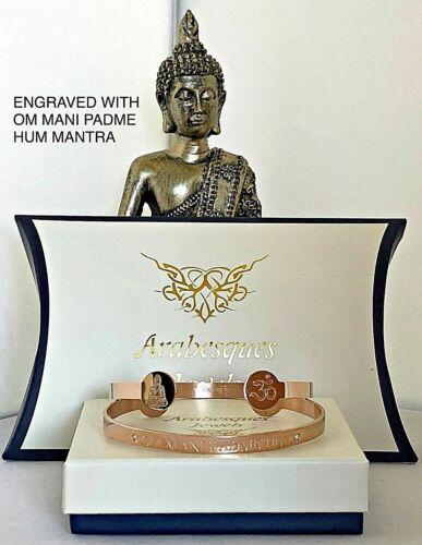 Budista//Buda Om Mani Padme Hum Mantra Brazalete//Chapado en Oro Rosa Para Damas//Para Hombre