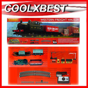 NEW-HORNBY-OO-GWR-0-4-0-WESTERN-FREIGHT-HAULER-TRAIN-SET-w-BUILDINGS-OVAL-TRACK