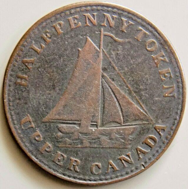 1833 UC-12B2 Upper Canada Canadian - Sloop Token - Plough Reverse