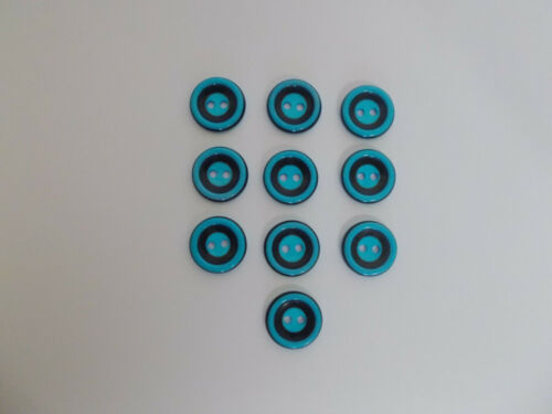 10 x Deep Aqua Buttons with Black Band Detail 15mm Baby Buttons 2 Hole Buttons