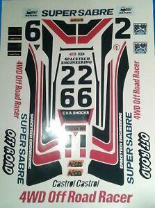 SUPER-SABRE-CUSTOM-TAMIYA-HPI-LOSI-RC-1-10th-vintage-PLUS-Extra-decals-stickers