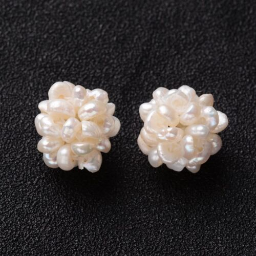 20pcs Handmade Natural Pearl Cluster Beads Seashell Beaded Ball Loose Beads 12mm