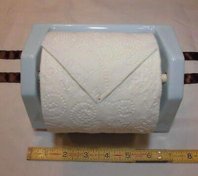 """Vintage *Medium Blue*  Ceramic 1/"""" semi-recessed toilet paper holder   /""""NOS/"""""""