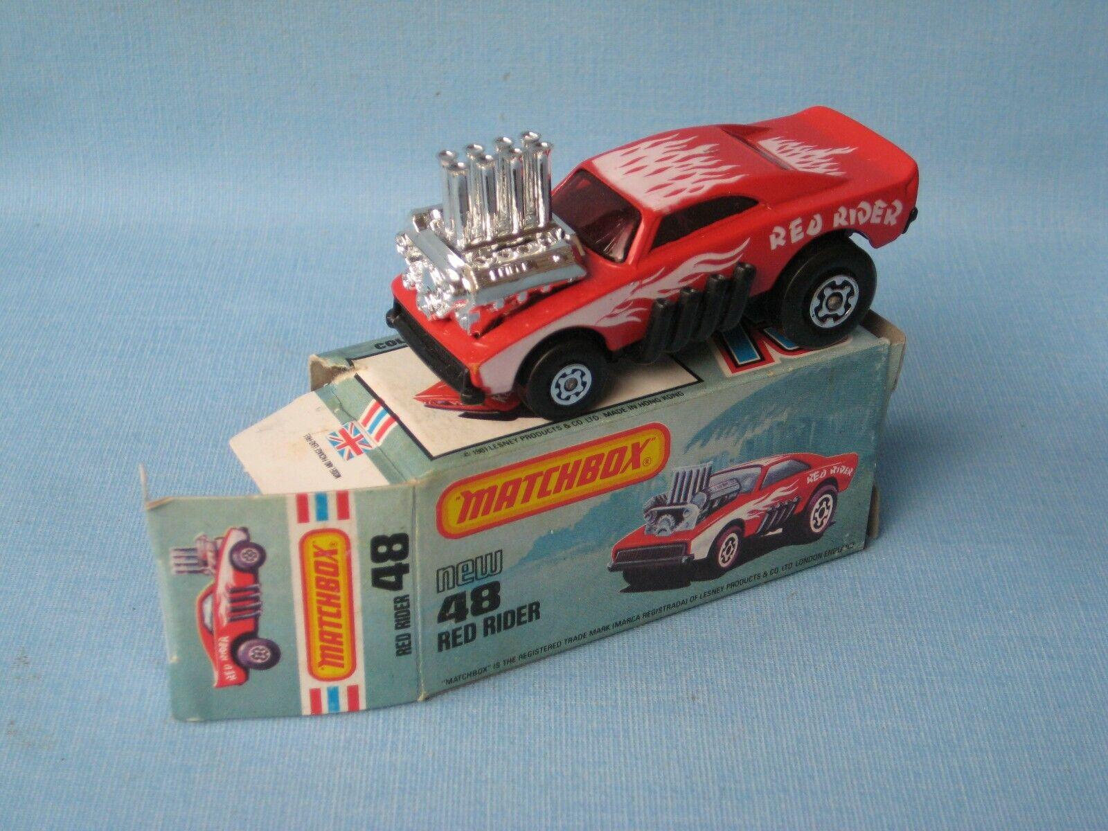 Matchbox 48 Rojo Rider Pi-eyed Piper usa imagen Caja 75mm rara en Caja súperfast