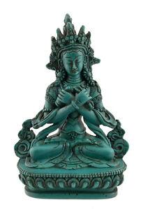 Soprammobile Tibetano Budda Vajradharma IN di Resina H 15 cm-Turquoise-4558