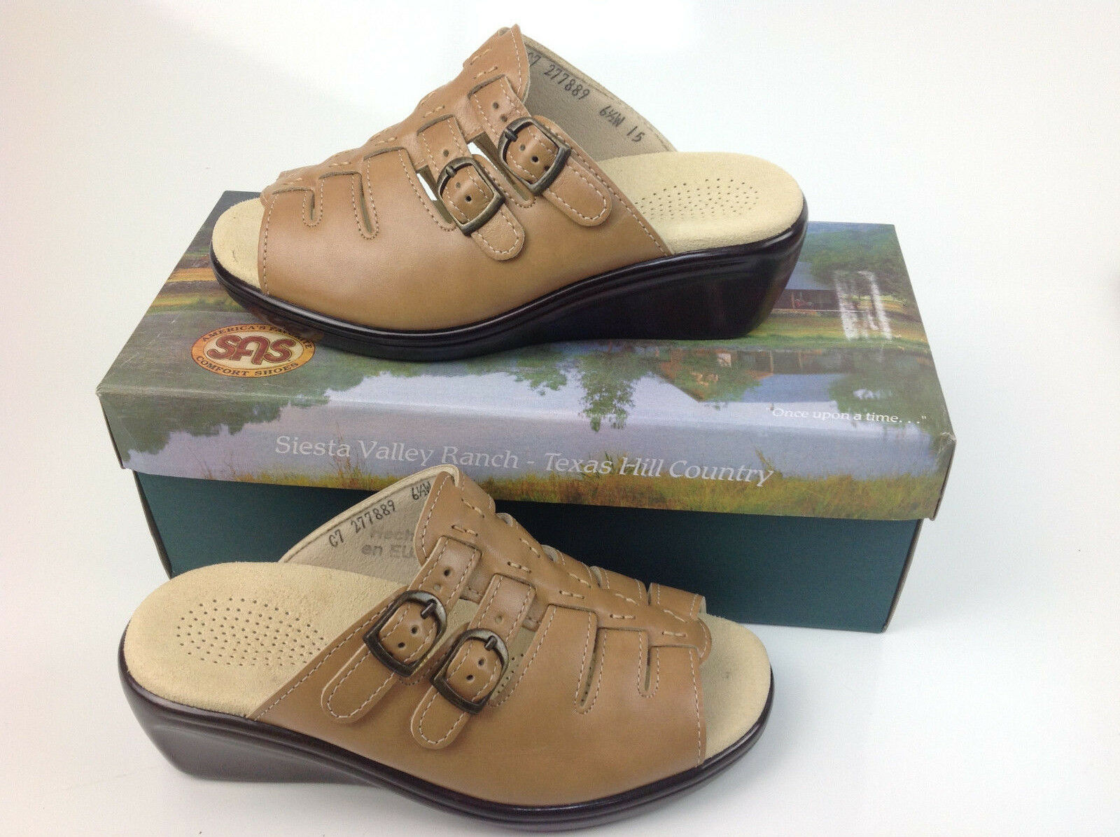 123.00 SAS SAN ANTONIO SHOEMAKERS TANGO SLIDE SANDAL WHEAT SIZE 9 N