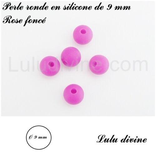 Rose foncé Perle ronde en silicone de 9 mm lot de 10 perles