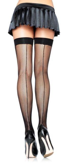 47d2b7b15 Leg Avenue Sexy Black Fishnet Thigh High Stockings With Backseam One size