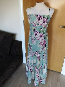 e07fbef1731f Ladies M&S Dress Size 12 Long Maxi Teal Floral Gypsy Country Casual ...