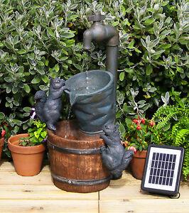 Solarbrunnen Mit Wasserhahn Und Eichhörnchen Gartenbrunnen Garten