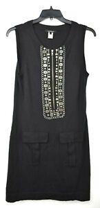 Nanette Lepore Women Black Metal Embellished 2 Pocket Sleeveless Sheath Dress L