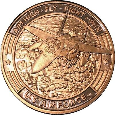 Guy Harvey Series US Air Force F-15 Fighter Jet 1 oz Copper USA Made BU Round