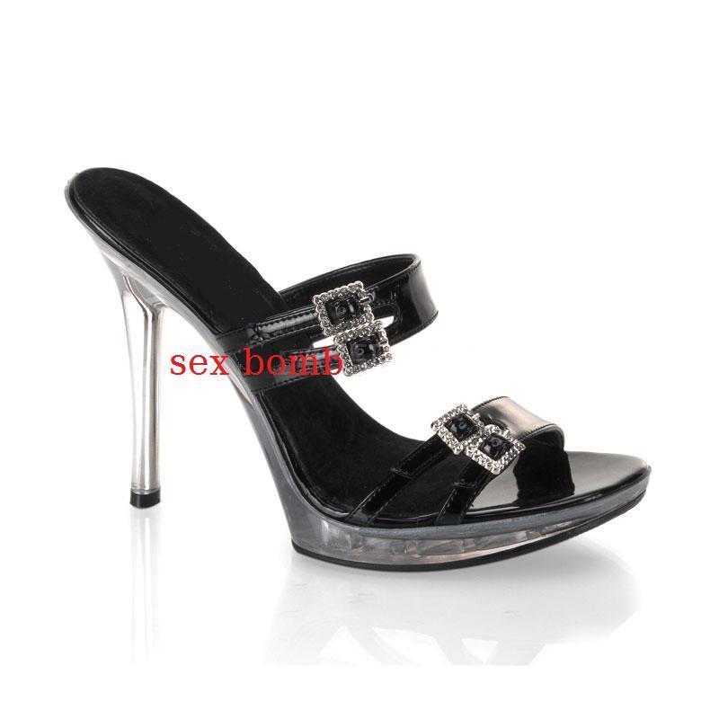 SEXY sandali plateau tacco 13 n. 40 black TRASPARENTE Strass Fashion GLAMOUR