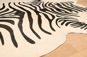 zebra print cowhide rug brazilian cow hide area rugs skin leather ebay